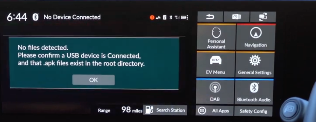 Notification letting a user know that there is no USB that is currently connected to the vehicle