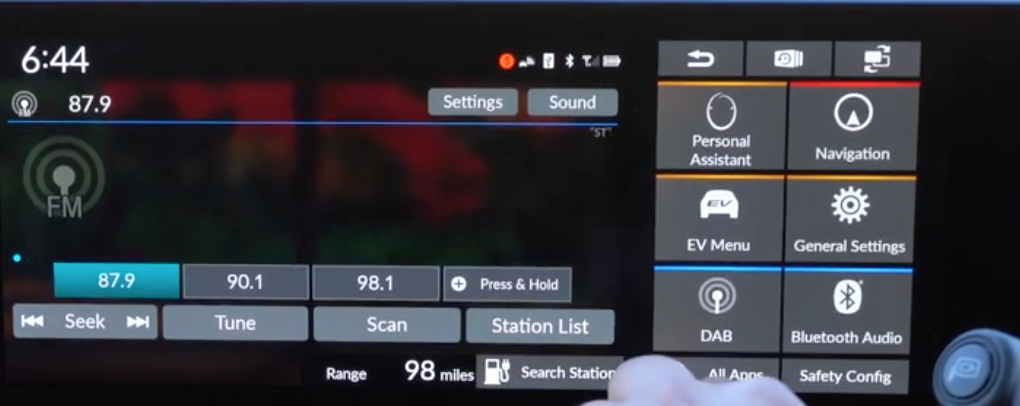 Player screen with radio stations