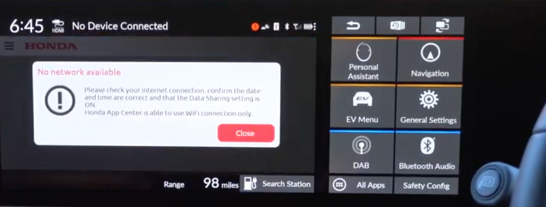Notification pop-up letting a user know that there is no internet connection