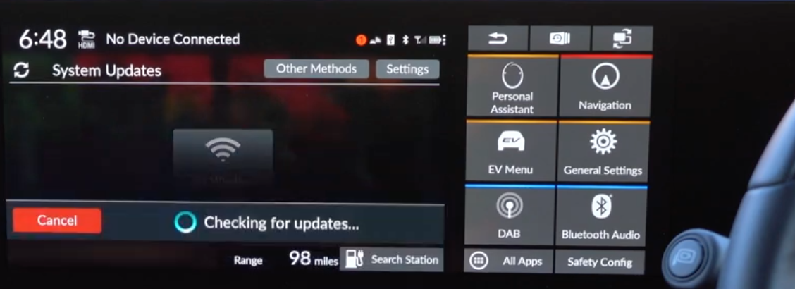 Checking if there are any system updates and option to select settings related to it