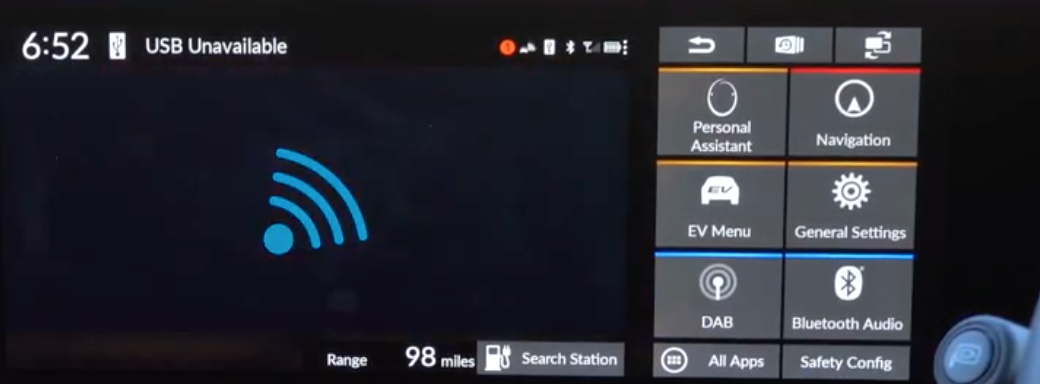 Screen indicating that a USB is unavailable with a blue connectivity icon on the left and the main menu on the right
