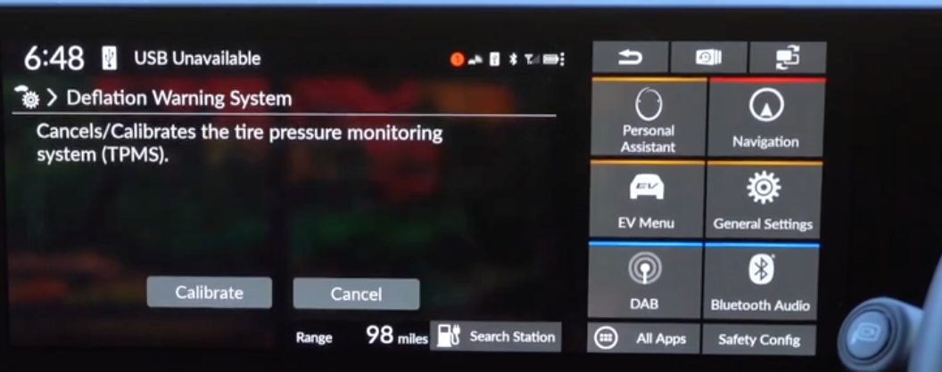 Settings for the deflation warning system to either cancel or calibrate tire pressure