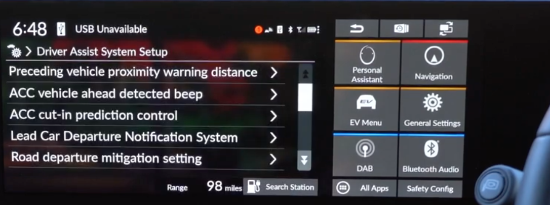 A list of various driver assistance settings such as proximity warning etc