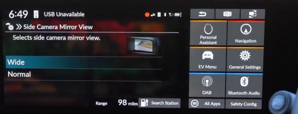 Selecting the side camera view to be wide or normal with an illustration of the side mirror