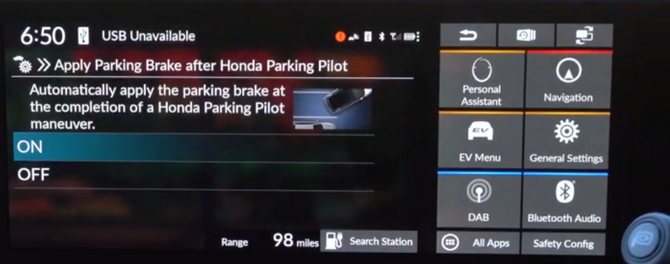 Turning on and off automatic parking brake application after parking with an illustration of a car parking in reverse