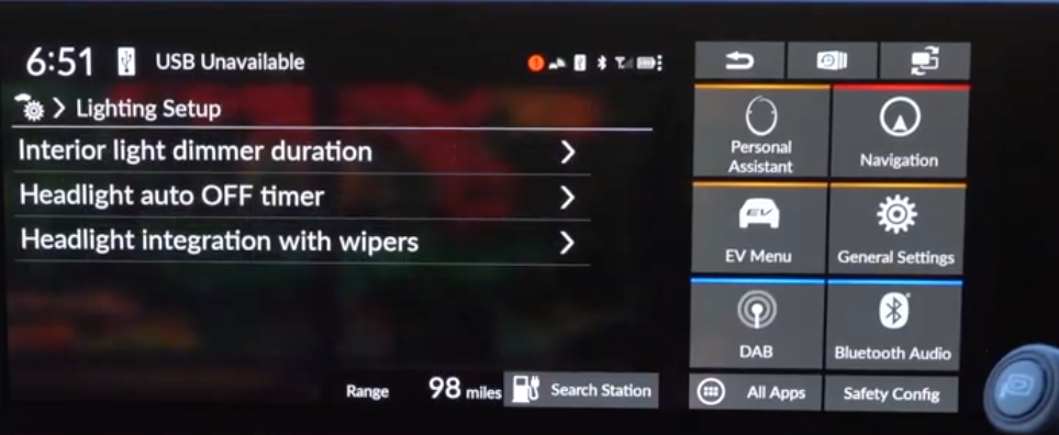 List of various lighting settings such as headlights, and interior lights