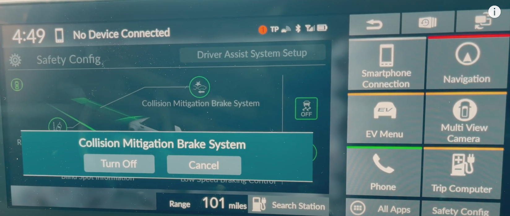 Two digital buttons to chose from to set up collision mitigation brake system to turn off or cancel