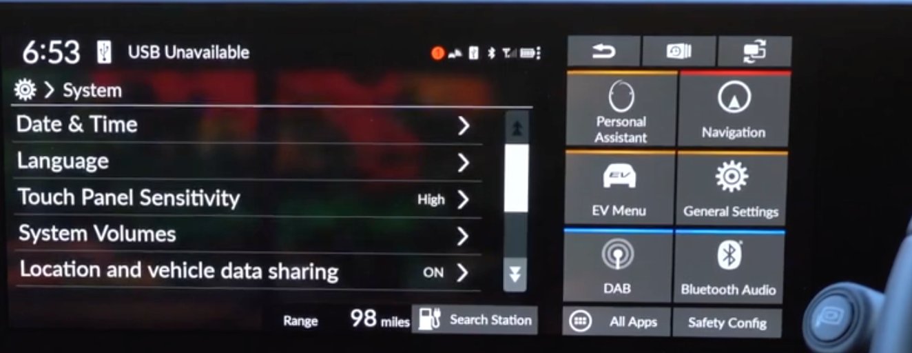 List of various general infotainment settings such as date/time and language