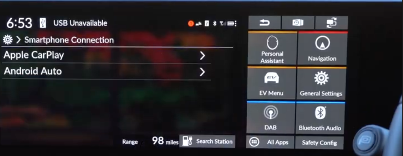 Smartphone connection settings for Apple Carplay and Android Auto