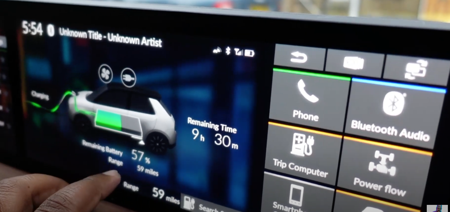 Information about the car's current battery level with a 3D model of a car