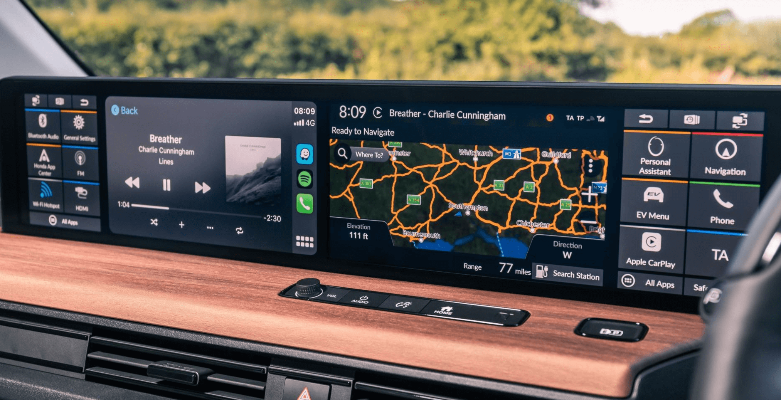 Photograph of the touch surfaces in the vehicle