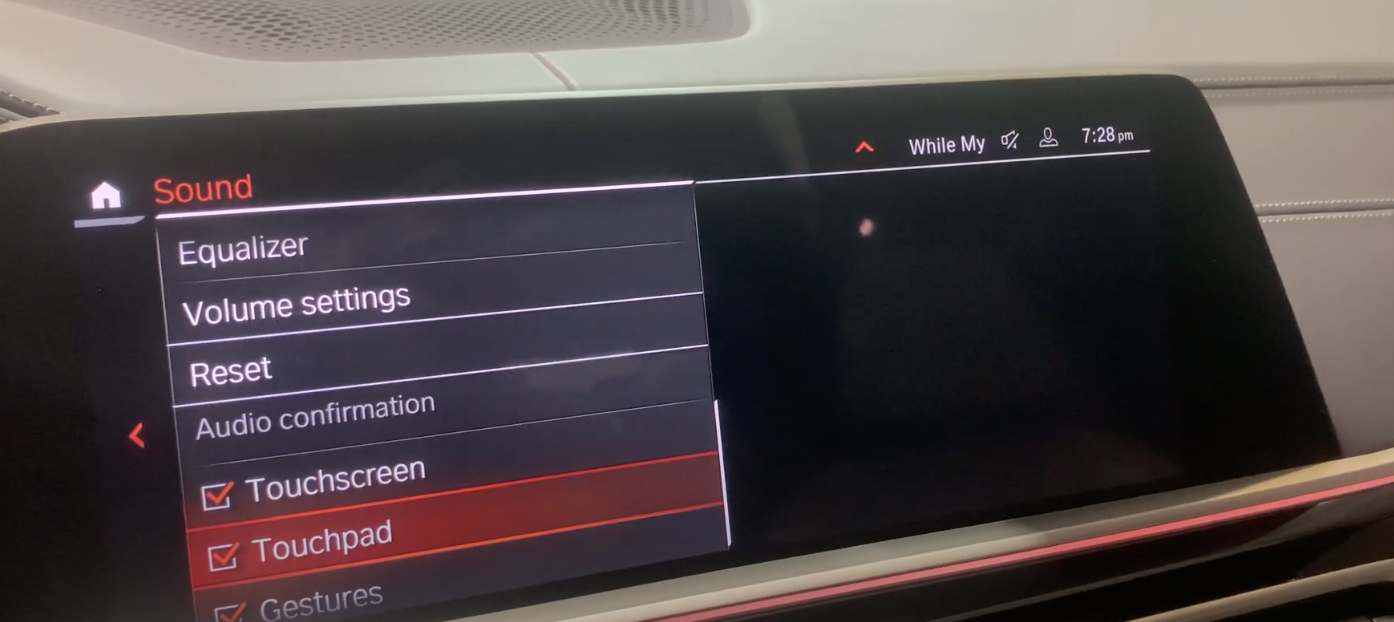 Turning on and off input sounds for the infotainment settings for the touchscreen, touchpad and gestures