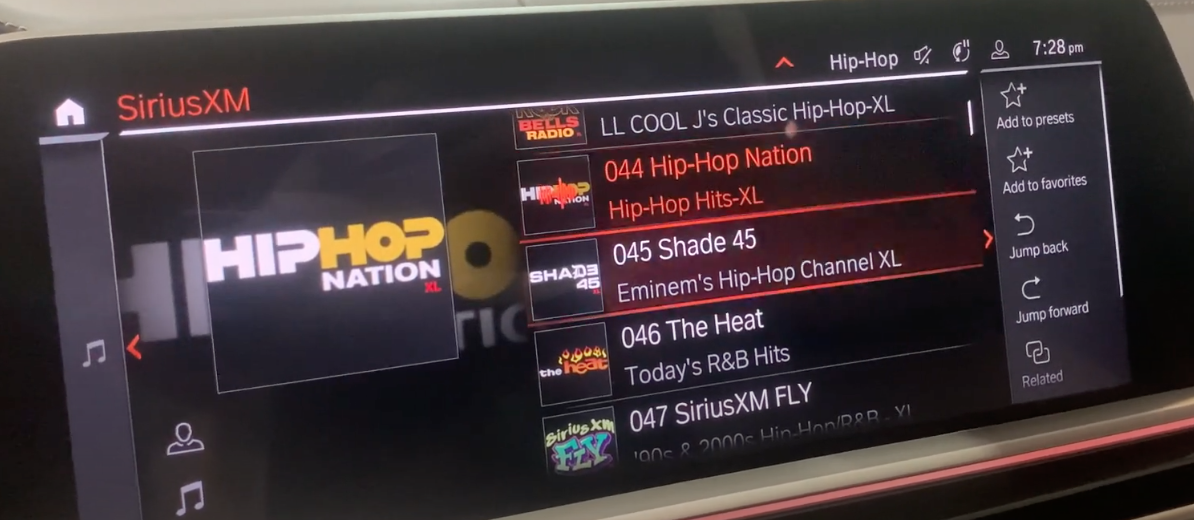 A list to browse radio stations on the right with what is currently playing on the left