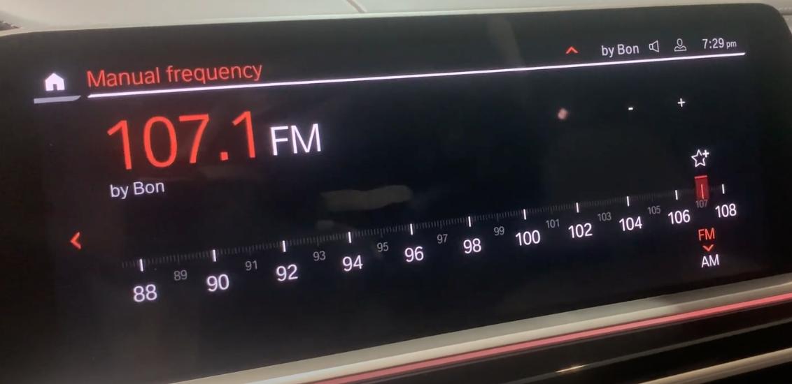 Manually tuning the radio through a slider