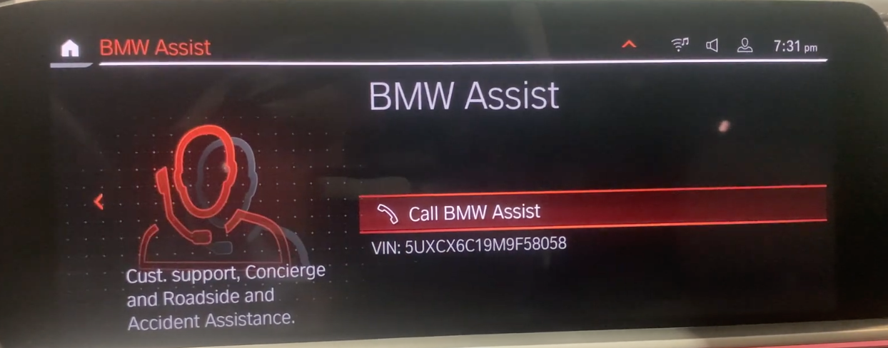 Option to call vehicle assistance with an icon of a person on the phone