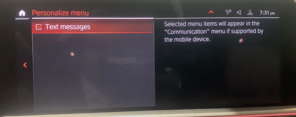 Text messages selected on the left and text on the right explaining that selected items will appear on the menu