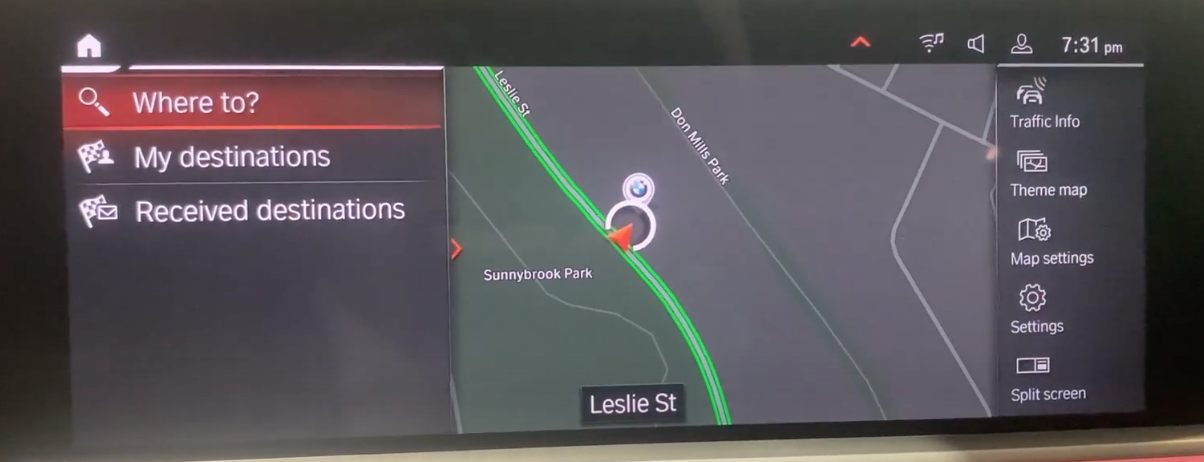 Map view on the right with options to search for destination on the left