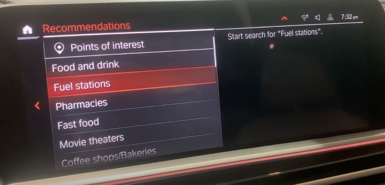 A list of suggested point of interests within the navigation system