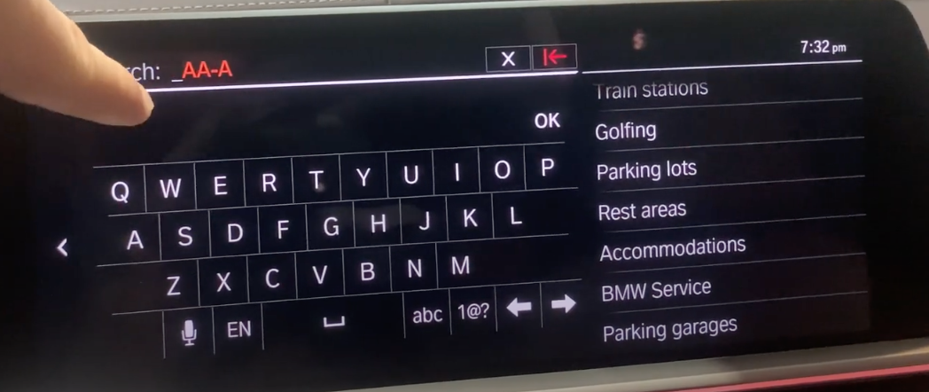Digital keyboard to enter a destination within the navigation system