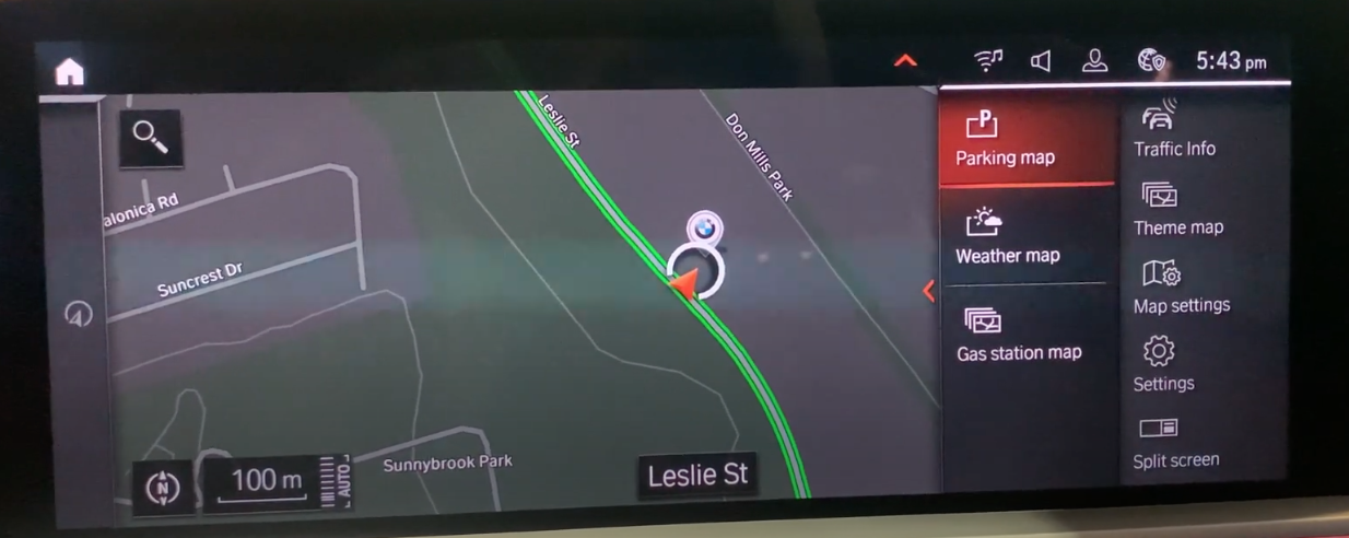 Map view with navigation tools on the right