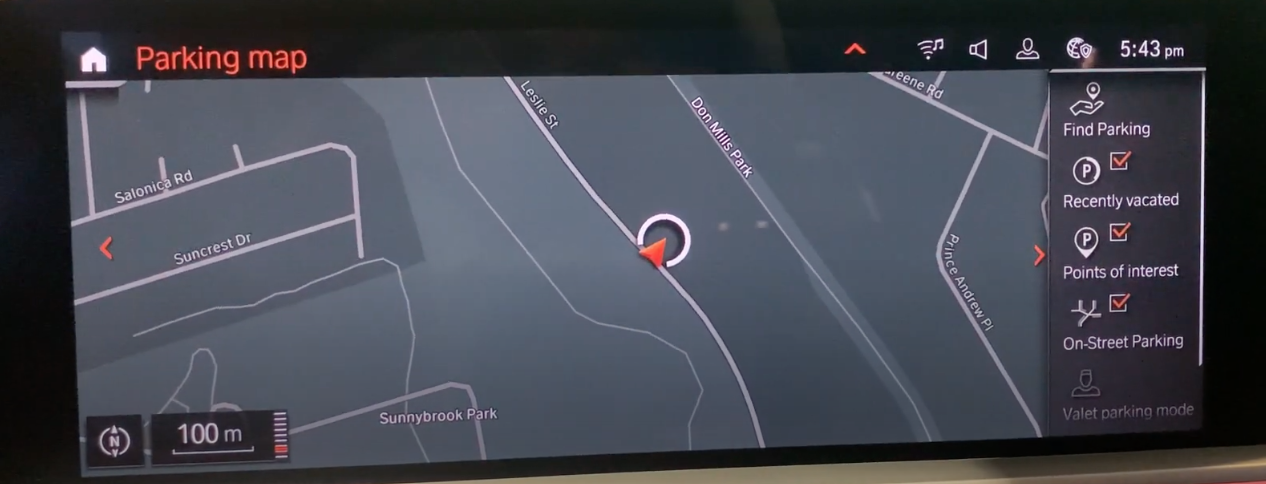 Parking map view with available spots