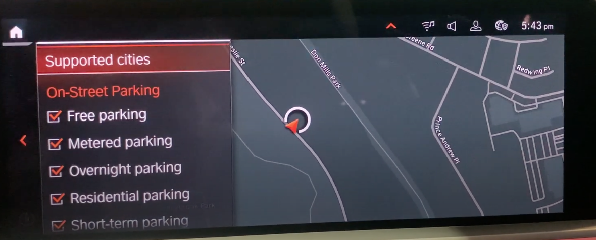 Settings to see what kind of parking a user wants to see within the navigation system