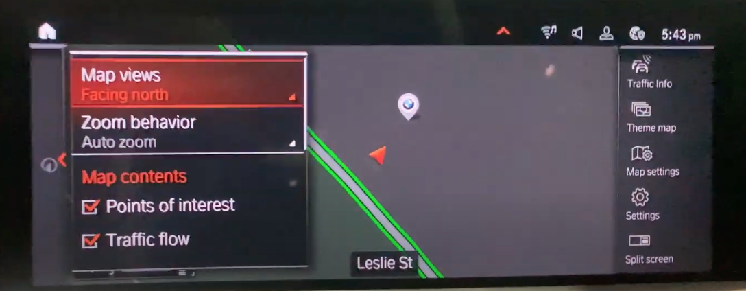 Map view on the right with navigation settings on the left such as zoom and map contents