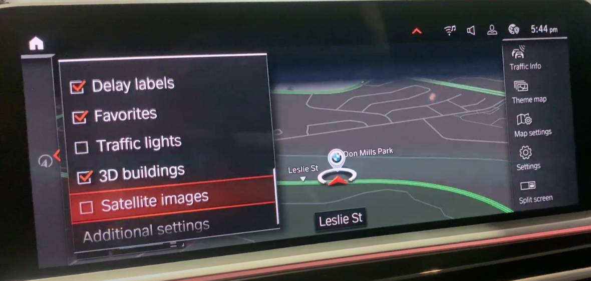 Map view on the right with map settings on the left, turning on and off desired content to appear on the map