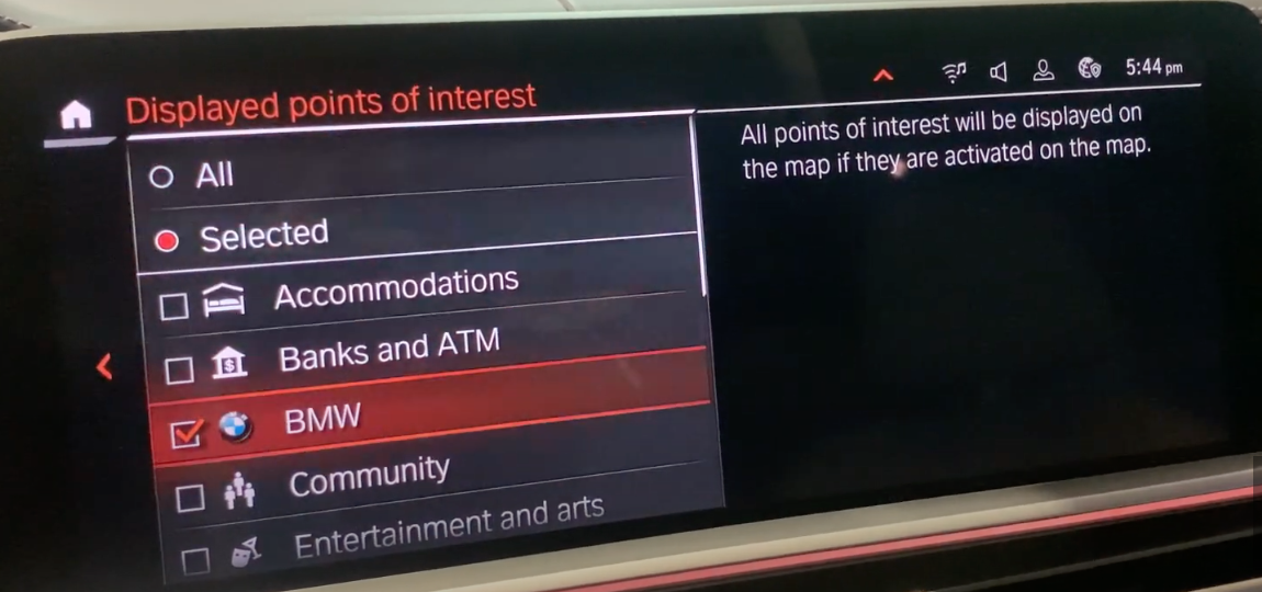 A list of point of interests to tick off and on depending on which one a user wants to see on their map