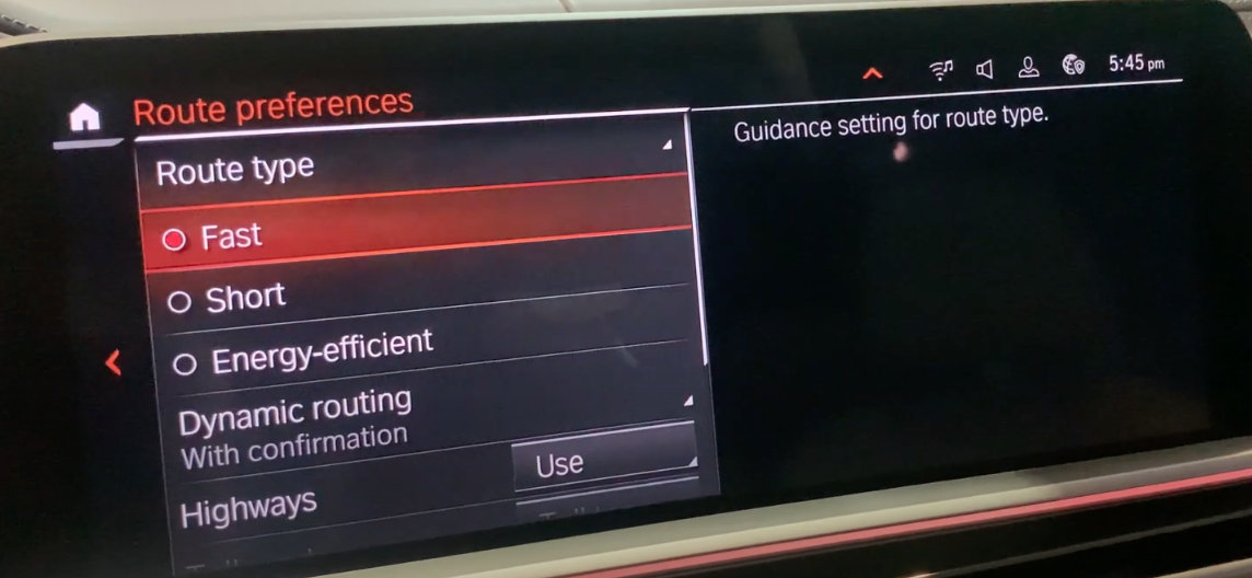 Route preference settings such as preferred route types