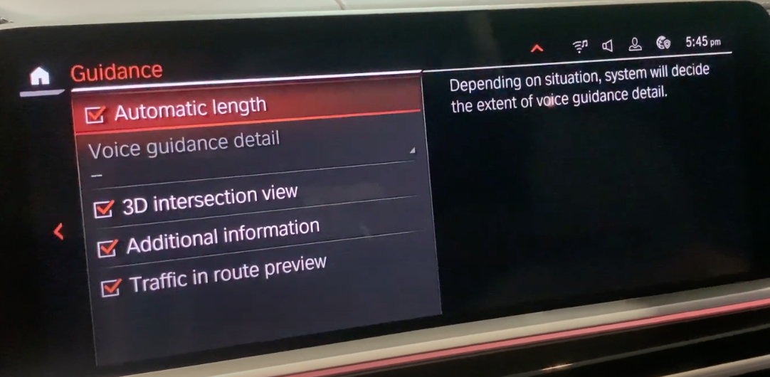List of settings for the voice guidance for the navigation system