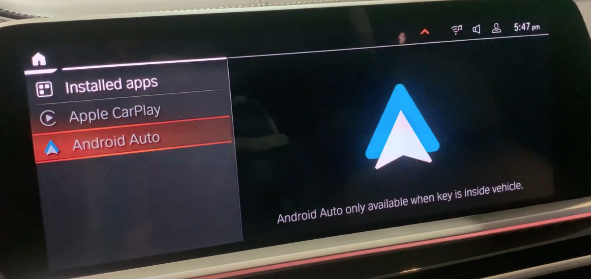 Option to chose Android Auto with its icon on the side