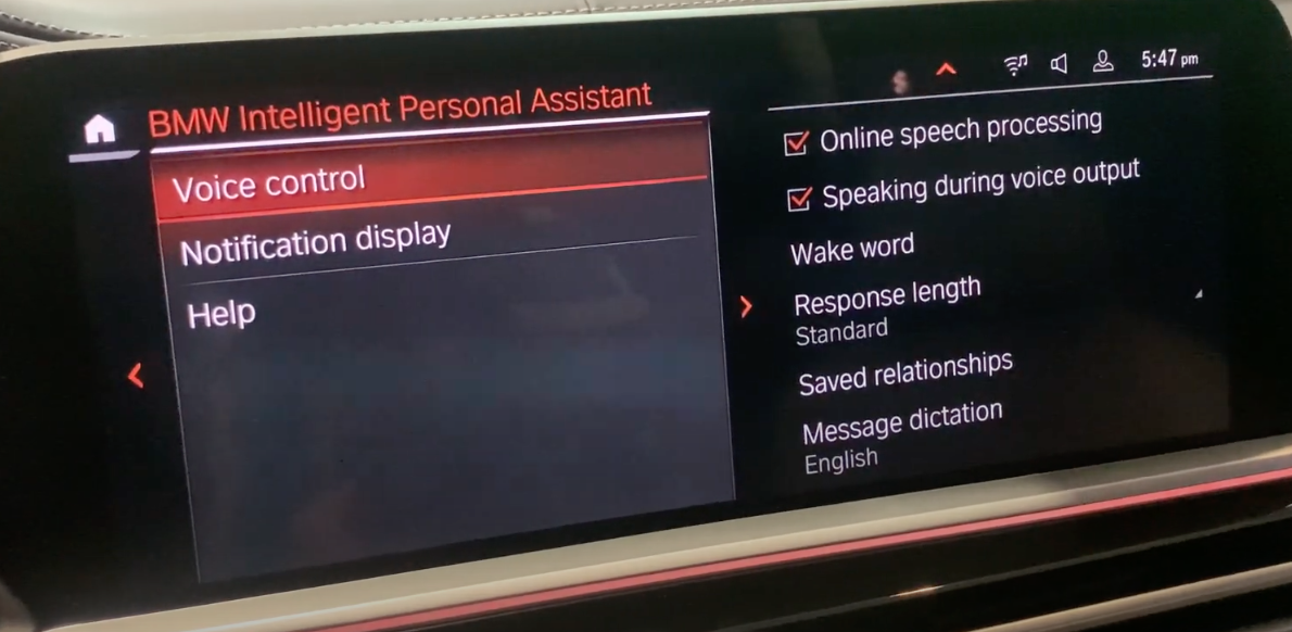 Settings for the voice assistant such as choosing the wake word