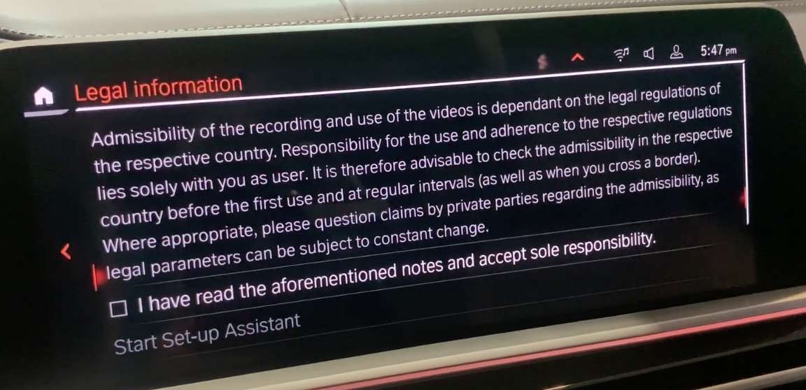 Terms and conditions for the alarm system for a user to acknowledge
