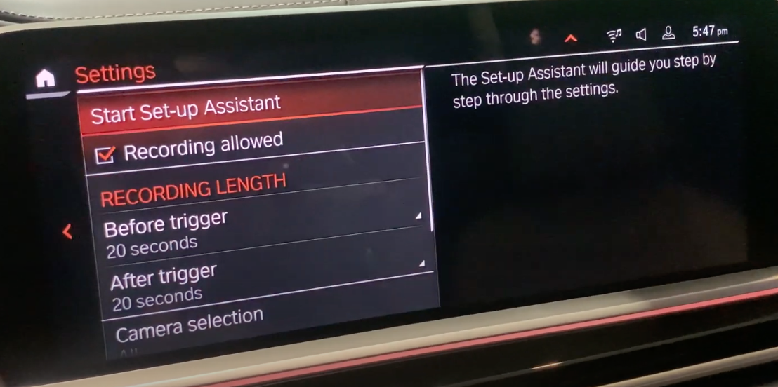 List of settings for the safety recordings such as lenght of recording