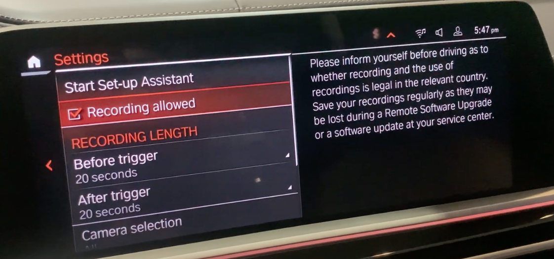 List of settings for the safety recordings such as lenght of recording or turning recording on and off