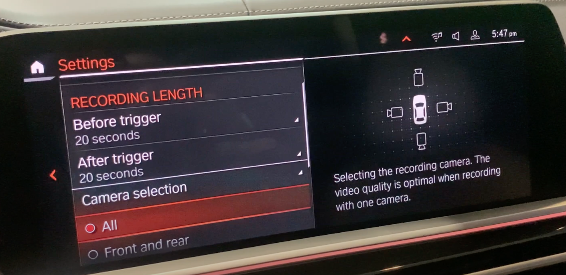 Setting up the camera selection and recording lenght with a car icon surrounded by camera icons