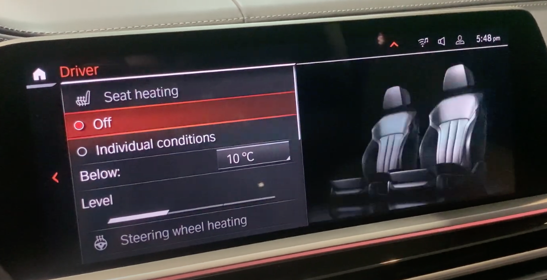 Adjusting seat temperature with an illustration of driver seats