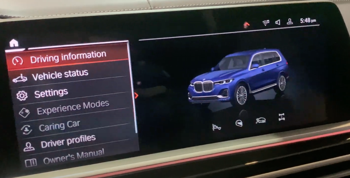 A list of various car information features such as driving info and vehicle status with a 3D model of a car on the side