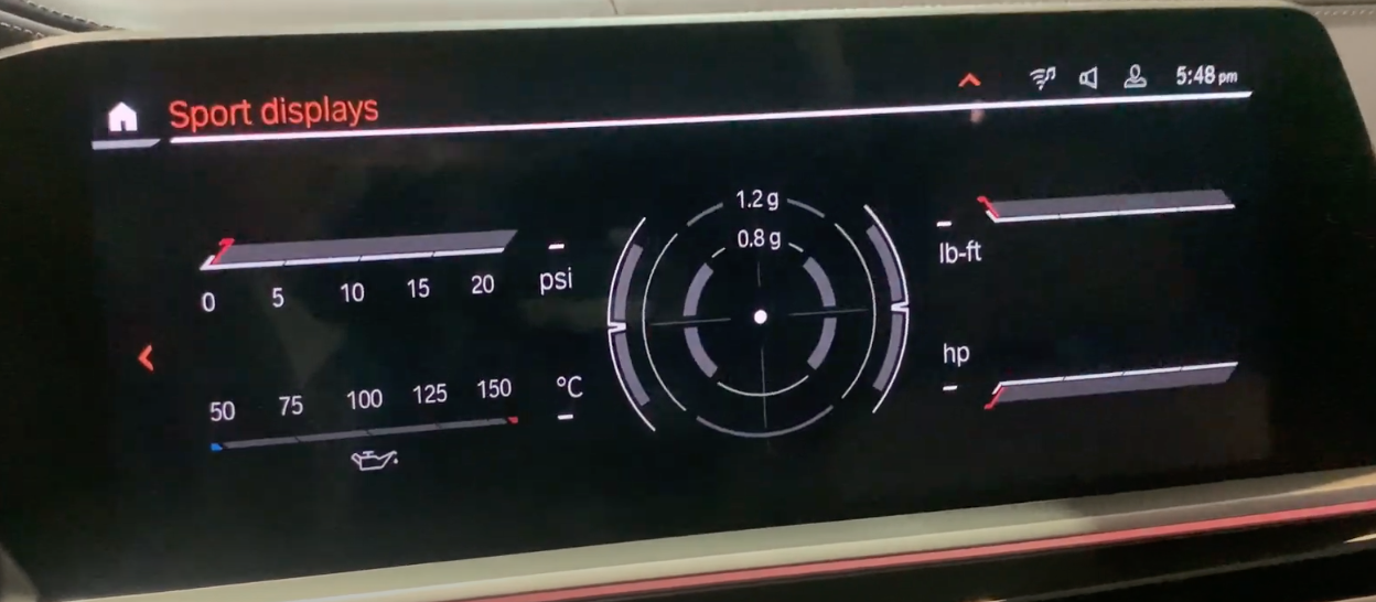 Different status information about the vehicle such as oil temperature and tire pressure