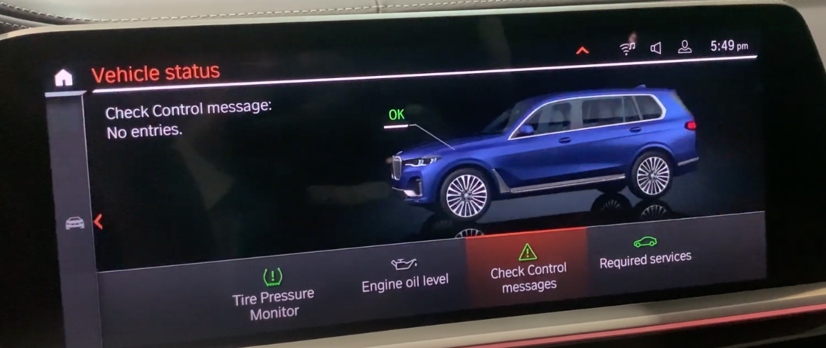Vehicle status screen with various features and a 3D model of a car