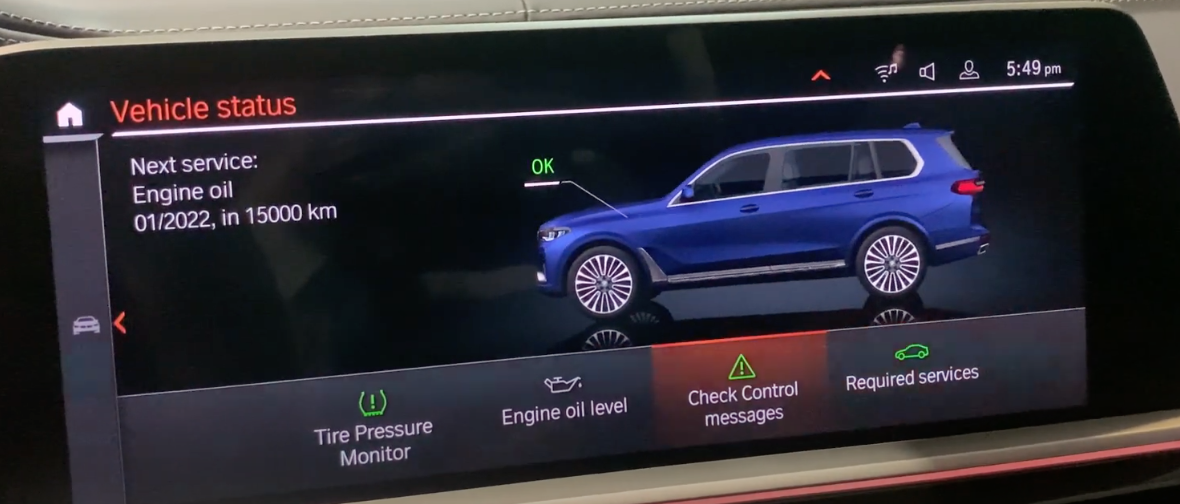 Various car status information such as service information about oil change and a 3D model of a car