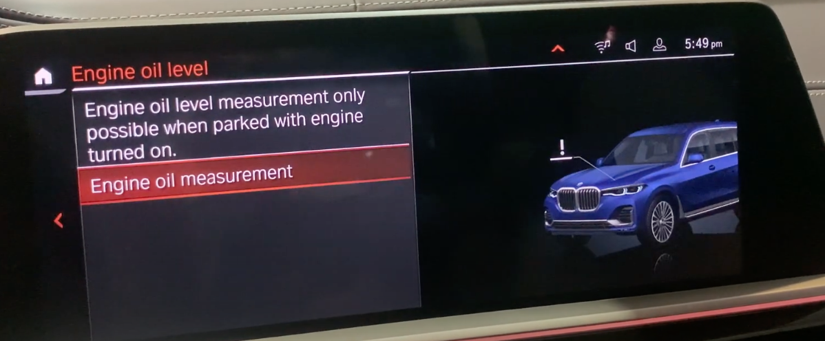 Engine oil level measurement option selected with a 3D model of a vehicle