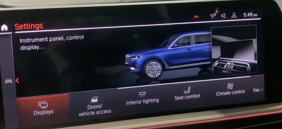 Display settings selected from various vehicle settings with a 3D model of the vehicle