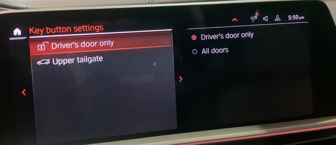 Key button settings to set up driver door and upper tailgate settings