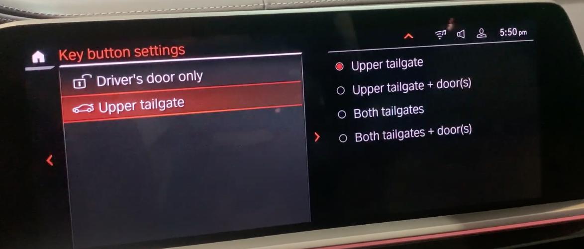 Door settings to set up driver door an tailgate settings