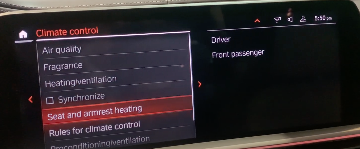 List of various climate control settings with seat and armrest heating selected