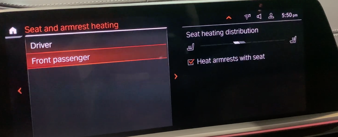 List of climate settings listed with rules for climate control selected with a fan icon