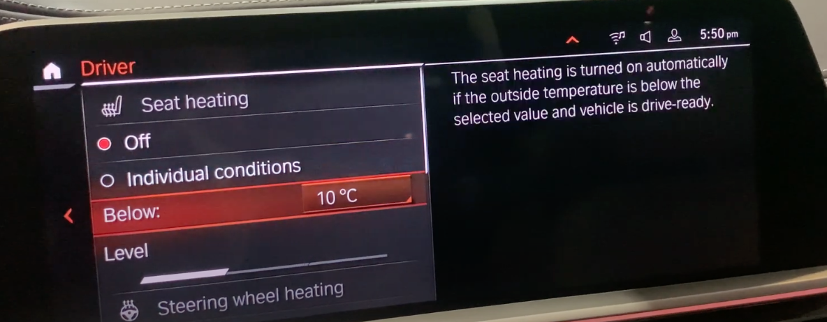 List of climate settings mostly related to seat temperature