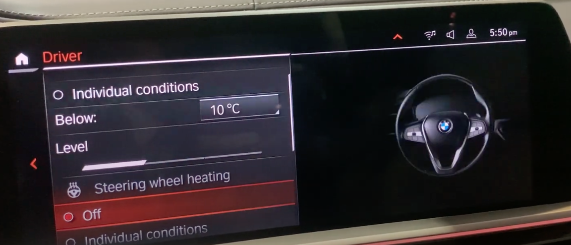 Steering wheel heating settings with an illustration of a steering wheel